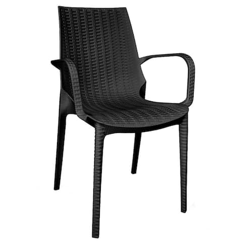 LeisureMod Kent Outdoor Stackable Dining Arm Chair