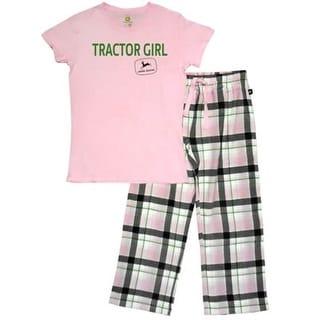 John Deere Western Sleepwear Womens Tractor 2 Pc Set Pink