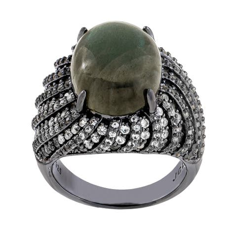 Oval-Cut Labradorite With Cluster White Topaz Ring, Sterling Silver