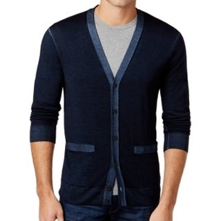Michael Kors NEW Blue Midnight Mens Size XL Cardigan Wool Sweater
