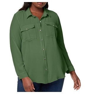 4066e37029088c Shop NY Collection Green Women's Size 1X Plus Utility Button Down Blouse -  Free Shipping On Orders Over $45 - Overstock.com - 27331452