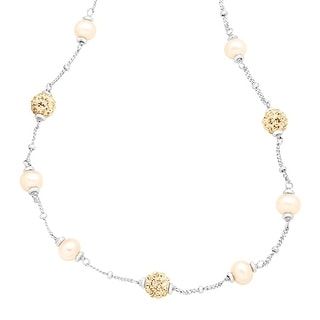 Crystaluxe Girl's Champagne Freshwater Pearl Necklace with Swarovski Crystals in Sterling Silver