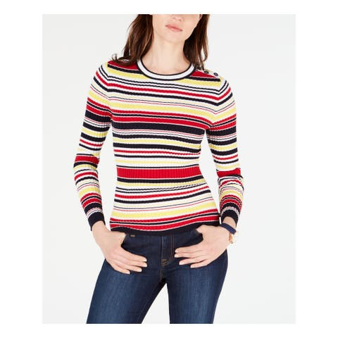 TOMMY HILFIGER Womens Red Striped Long Sleeve Jewel Neck Top Size XL