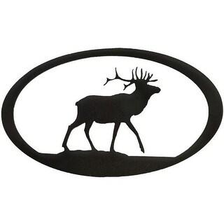 Elk Oval Metal Wall Art - Hammered Black