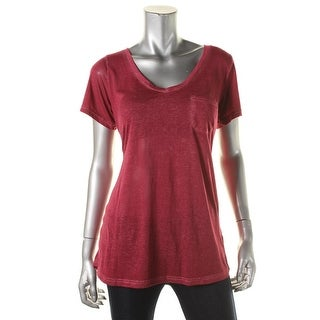 Make + Model Womens Cotton Blend Distressed Pullover Top - L