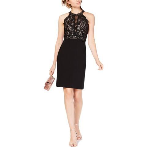 Morgan & Co. Womens Juniors Party Dress Lace Halter