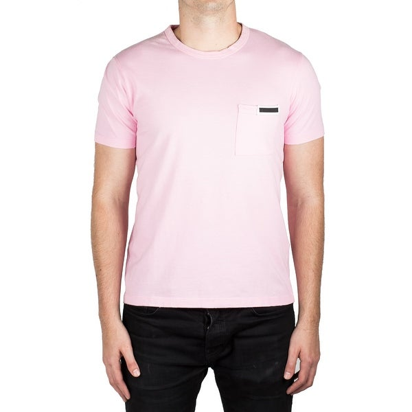 24e430184a Shop Prada Men's Jersey Cotton Ribbed Crew Neck Logo Patch T-Shirt Pink -  Free Shipping Today - Overstock - 14832273