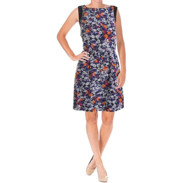 Kensie Womens Casual Dress Printed Lace Trim