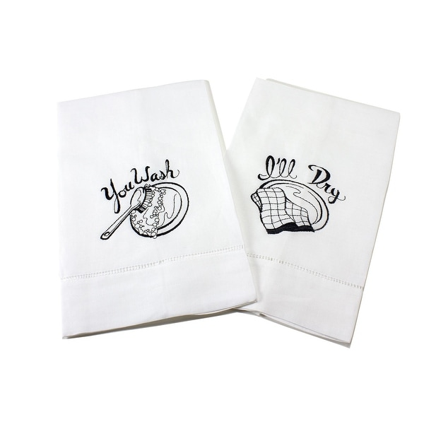 Playful Dishes Embroidered Linen Tea Towel Set of 2