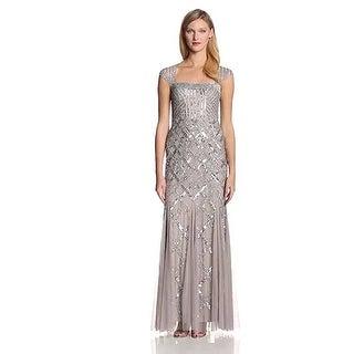 Adrianna Papell Women's Cap-Sleeve Beaded Gown - Platinum