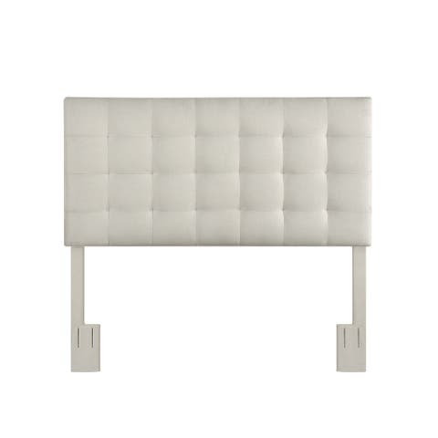 Mid-Century Modern, Grid Tufted Full or Queen Upholstered Headboard in Fog Gray