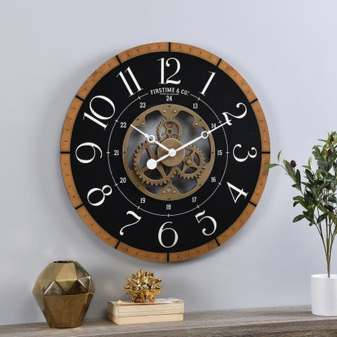 FirsTime & Co.® Gold Carlisle Gears Clock, American Crafted, Aged Gold, Plastic, 27 x 2.25 x 27 in - 27 x 2.25 x 27 in