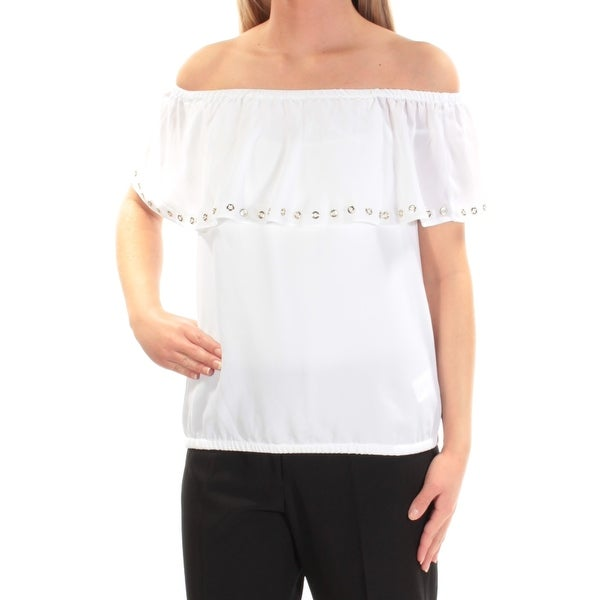 bb564619c2a681 Shop MICHAEL KORS Womens White Eyelet Short Sleeve Off Shoulder Top Size   XS - On Sale - Free Shipping On Orders Over  45 - Overstock - 22427897