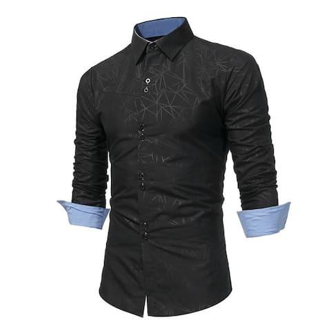 Mens Dress Shirt Long Sleeve Slim Fit Button Down Fashion Casual Shirts