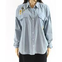 Lauren By Ralph Lauren Blue Womens Size Medium M Button Down Shirt