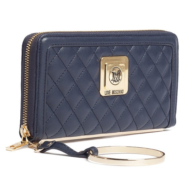 Moschino JC5504 0751 Navy Blue Zip Around Wallet - 7.5-4-1.2