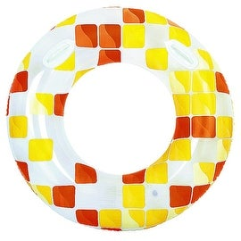 "47"" Yellow and Orange Fashion Mosaic Inflatable Swimming Pool Inner Tube Ring Float with Handles"
