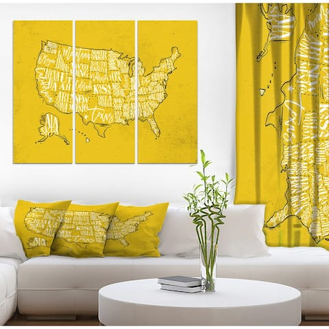 Designart 'United States Yellow Vintage Map' Maps Print on Wrapped Canvas set - 36x28 - 3 Panels