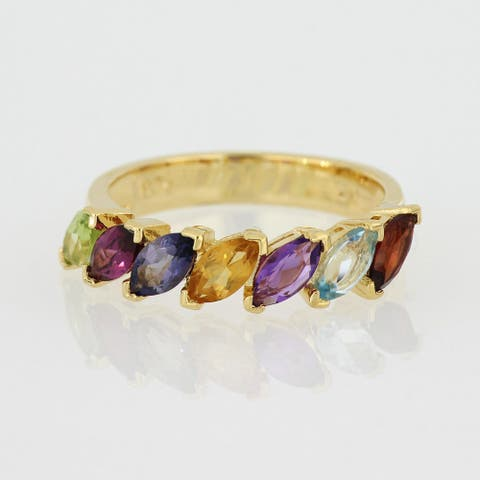 Marquise Shape Multi-Gemstone Ring in Yellow Plated Sterling Silver by Miadora