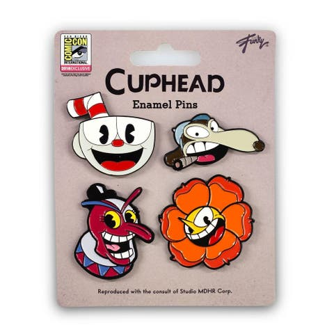 Cuphead Collectibles Exclusive Cuphead Enamel Pin Set 4 Pack - Brown