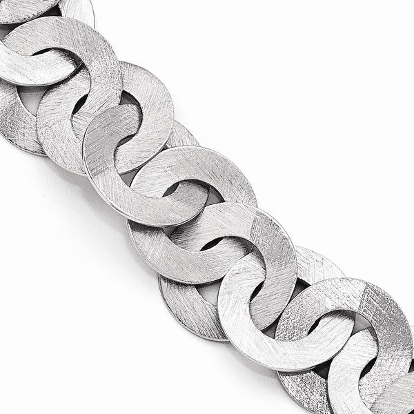 Italian Sterling Silver Scratch Finish Fancy Link Bracelet with 1in ext - 7.5 inches