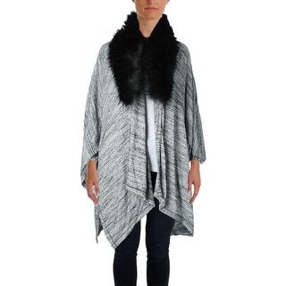 Three Dots Womens Knit Heathered Poncho Sweater