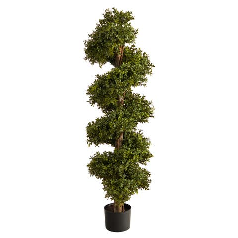 """46"""" Boxwood Spiral Topiary Artificial Tree - 6"""""""