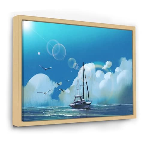 Designart 'The Sailboat on The Blue Sea Against Summer Sky' Nautical & Coastal Framed Canvas Wall Art Print