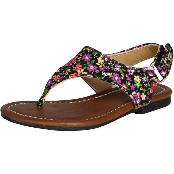 Kali Footwear Girls Edit Jr Fashion Flats Sandals - Black - 10 m us toddler