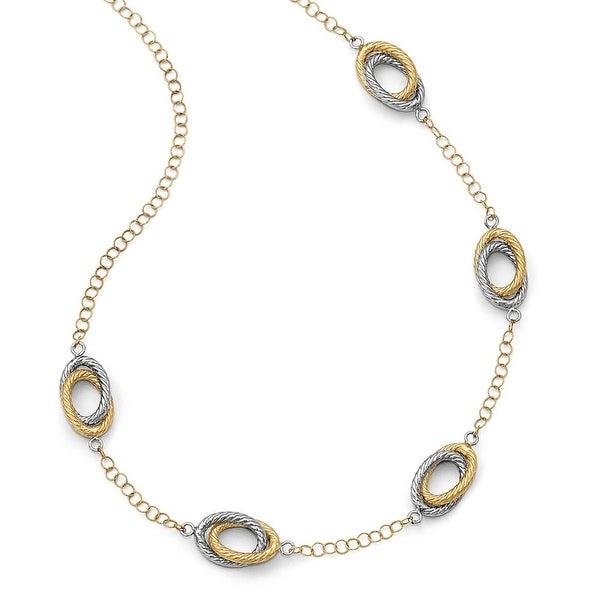 Italian 14k Gold Fancy Two-Tone Gold Necklace - 20 inches