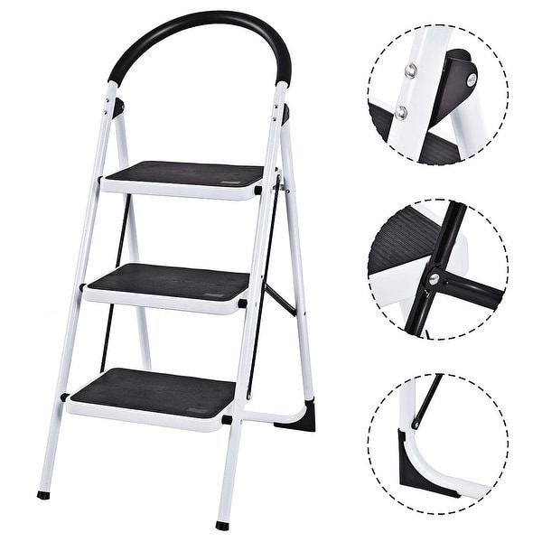 Costway 3 Step Ladder Folding Stool Heavy Duty 330Lbs Capacity Industrial Lightweight - Black & White