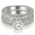 1.00 cttw. 14K White Gold Antique Round Cut Diamond Bridal Set - Thumbnail 0