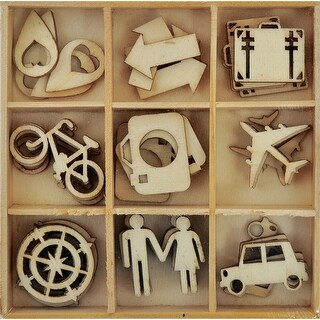 Themed Mini Wooden Flourishes 45/Pkg-Just Landed Travel