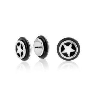 Bling Jewelry Star Illusion Fake Black Ear Plug Surgical Steel 16G