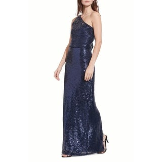 LAUREN RALPH LAUREN One Shoulder Sequin Gown, Navy Shine, 4