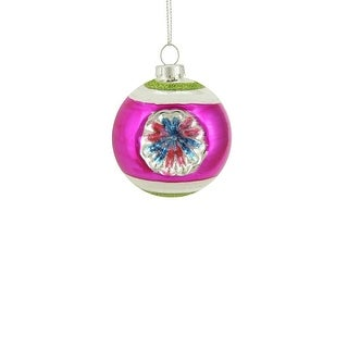 """Link to Fuchsia Pink and Silver Glittered Witches Eye Glass Christmas Ball Ornament 2.5"""" (60mm) Similar Items in Christmas Decorations"""