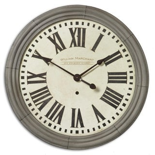 """27"""" Weathered Cast Antiqued Brass Parisian Wall Clock"""