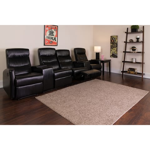 4-Seat Manual Reclining LeatherSoft Theater Seating Unit with Cup Holders