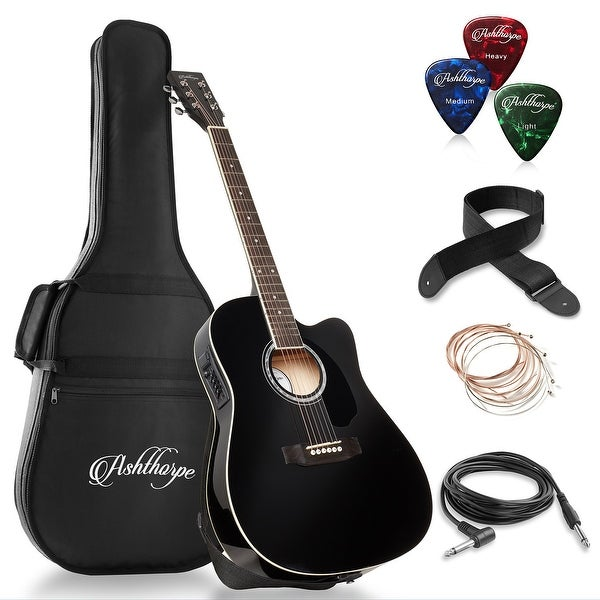 Full-Size Cutaway Thinline Acoustic-Electric Guitar with Gig Bag & EQ. Opens flyout.