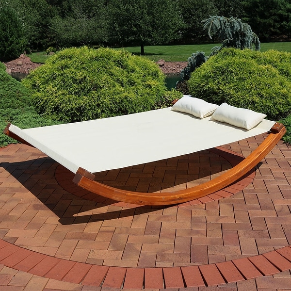 Sunnydaze 2-Person Natural Colored Outdoor Backyard Wooden Double Lounger Bed