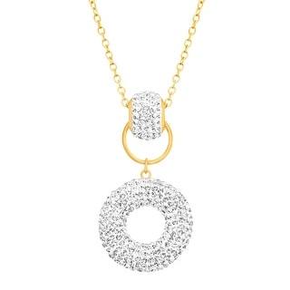 Crystaluxe Donut Drop Pendant With Swarovski Crystals In 14K Gold Plated Sterling Silver