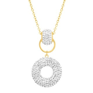 Crystaluxe Donut Drop Pendant with Swarovski Crystals in 14K Gold-Plated Sterling Silver