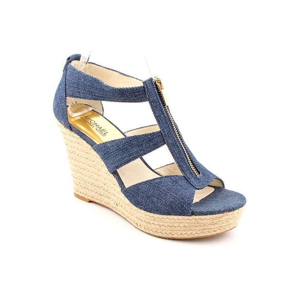 ca7491a3855 Michael Michael Kors Damita Wedge Women Open Toe Canvas Blue Wedge Sandal