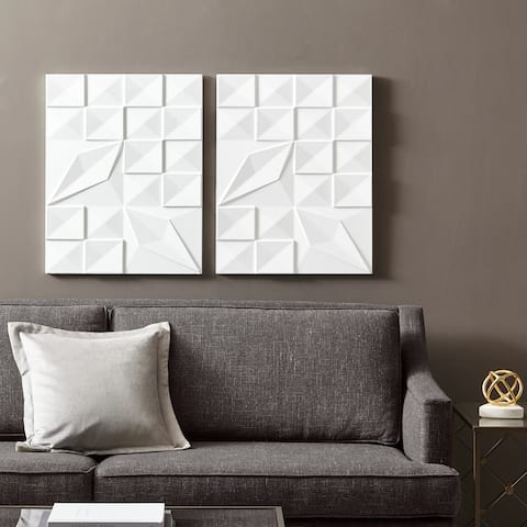 Madison Park Geo Tempo White Carved Wall Panel 2 Piece Set