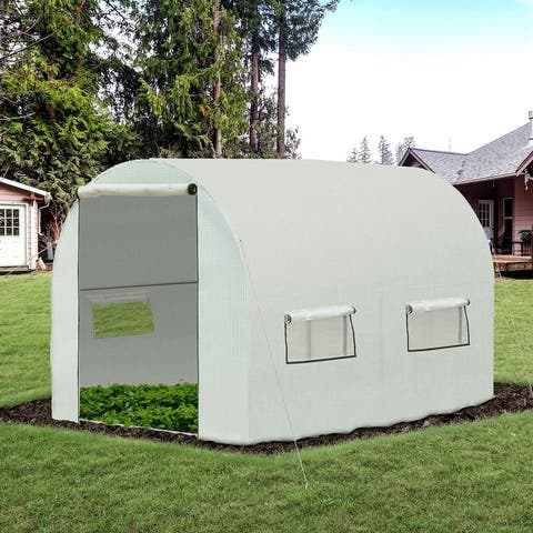 Outsunny 10' x 7' x 6' Walk-In PE Greenhouse with 2 Roll-up Zipper Doors & 6 Roll-up Windows for Plants, White