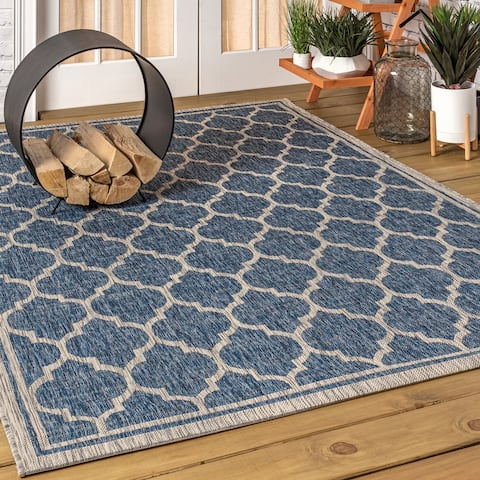 JONATHAN Y Trebol Moroccan Trellis Textured Weave Indoor/Outdoor Area Rug