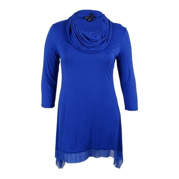 Cable & Gauge Women\'s 3/4 Sleeve Cowl Neck Tunic Top - olympian blue ...