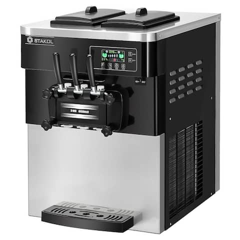 STAKOL 2200W Commercial 3 Flavor Ice Cream Machine Stainless Steel