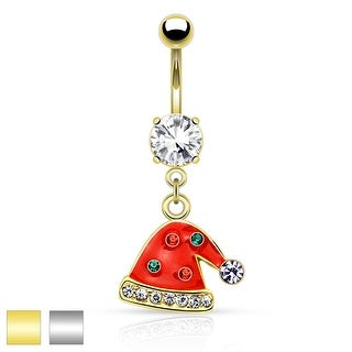 "Multi Gemmed Santa Hat Dangle Belly Button Navel Ring - 14GA - 3/8"" Long"