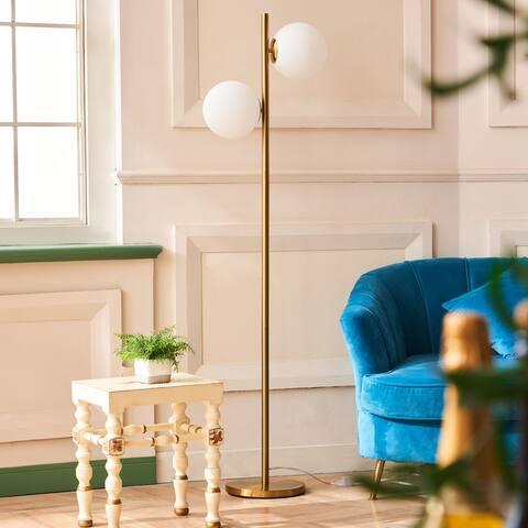 CO-Z 65-inch 2 Light Brass Torchiere Standing Floor Lamp - Golden